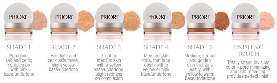 PRIORI Mineral Skincare SPF 25 shades